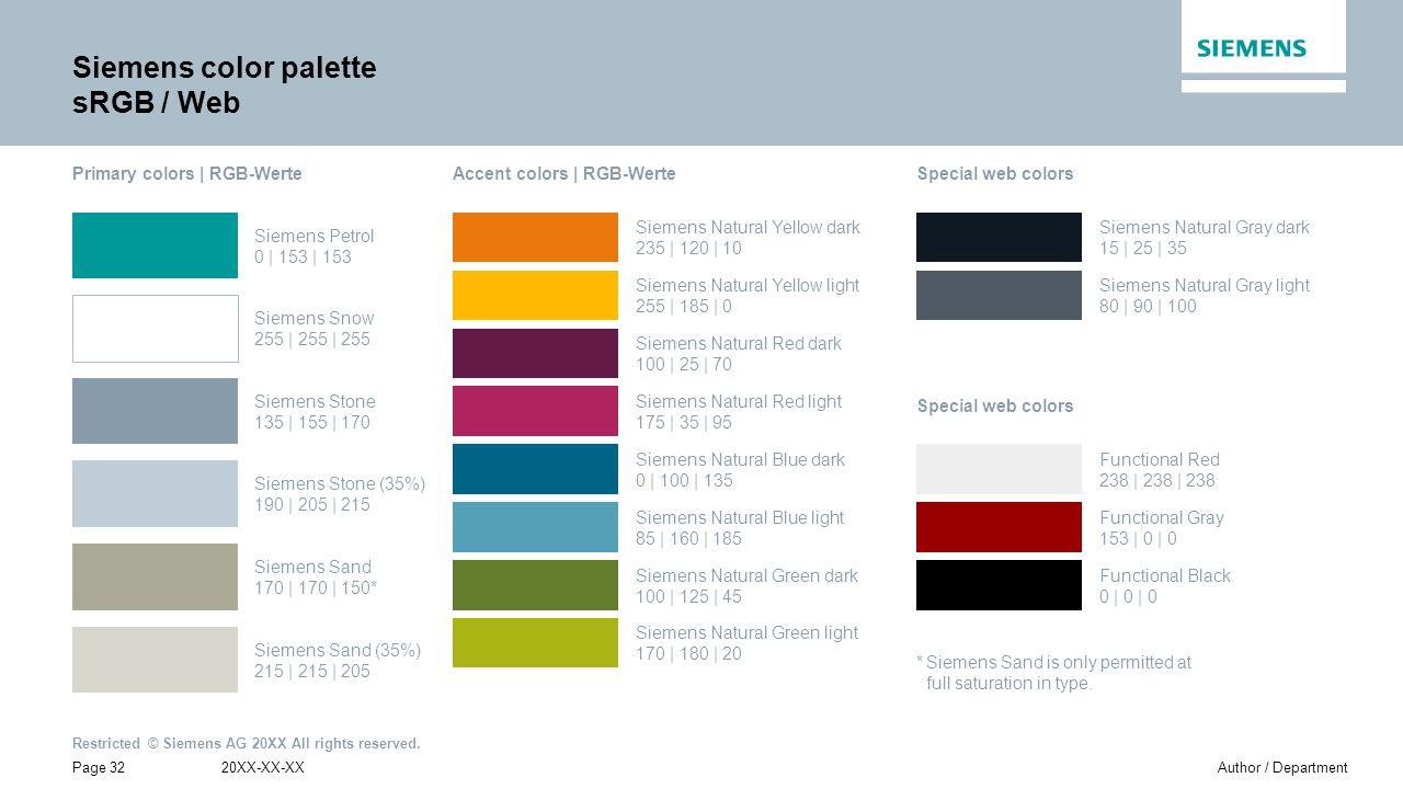 Siemens color palette sRGB / Web