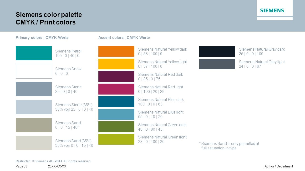 Siemens color palette CMYK / Print colors