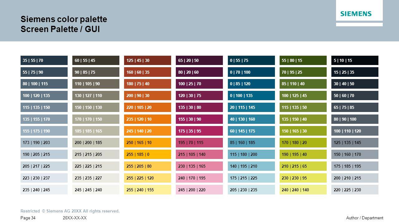 Siemens color palette Screen Palette / GUI