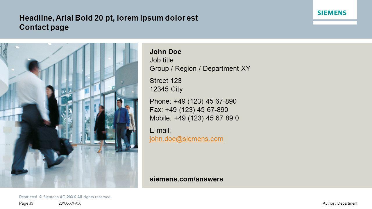 Headline, Arial Bold 20 pt, lorem ipsum dolor est Contact page