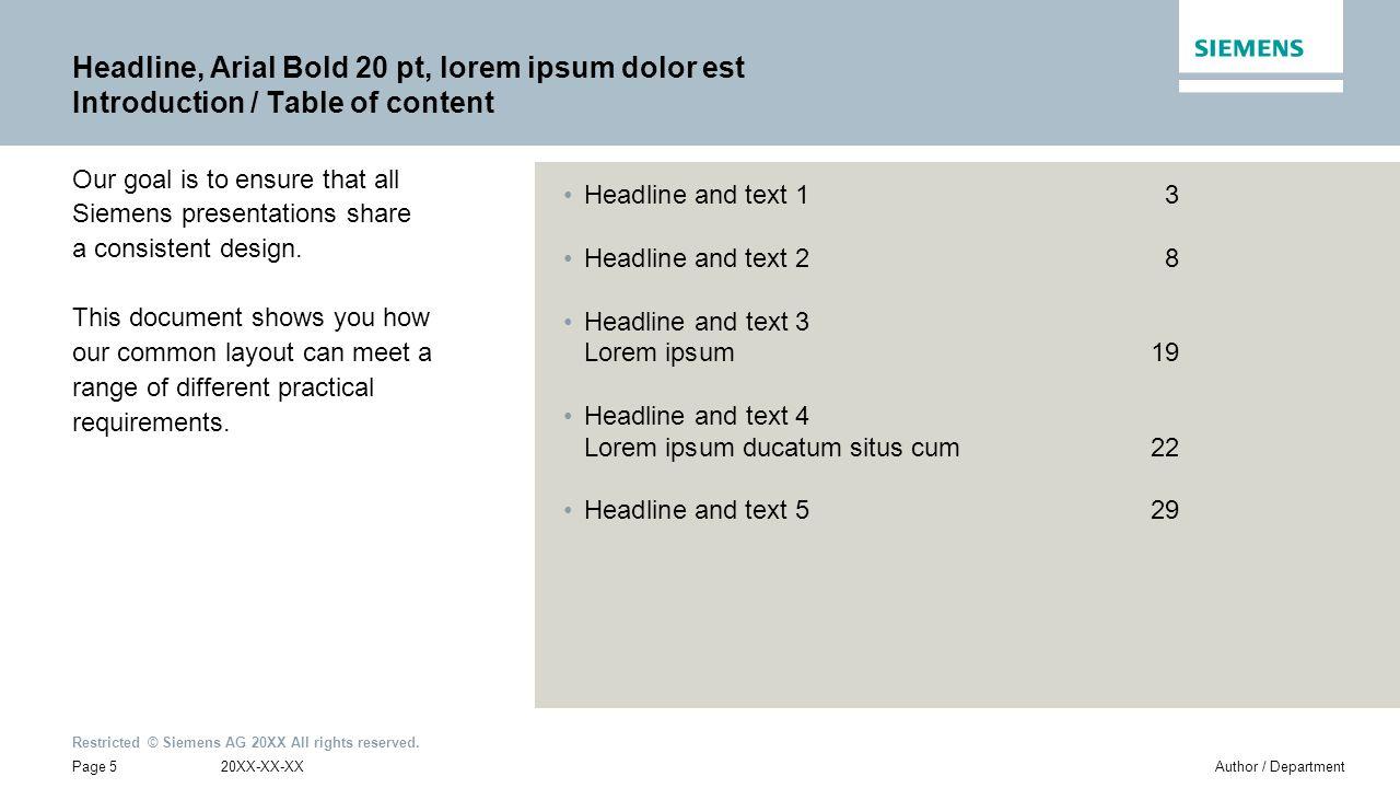 Headline, Arial Bold 20 pt, lorem ipsum dolor est Introduction / Table of content
