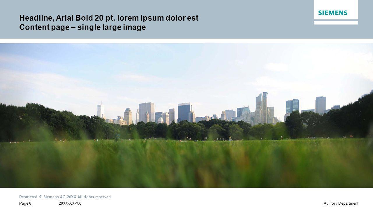 Headline, Arial Bold 20 pt, lorem ipsum dolor est Content page – single large image