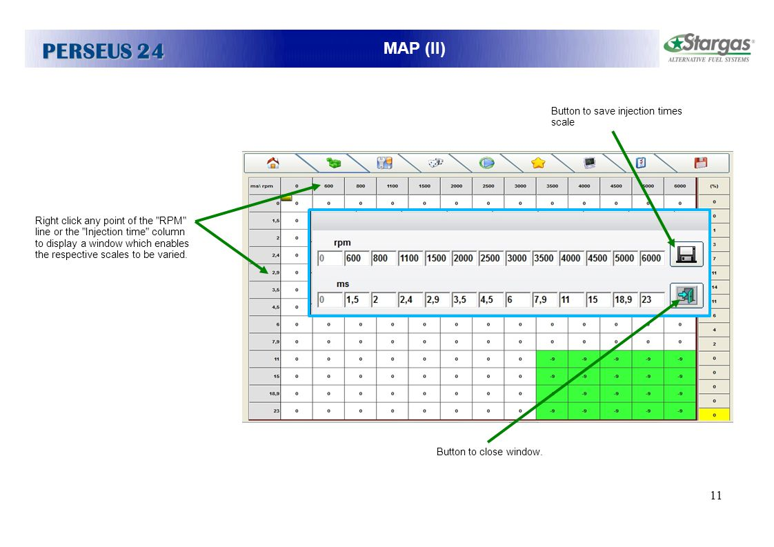 PERSEUS 24 MAP (II) PROVA Button to save injection times scale