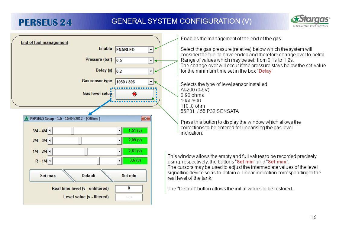 GENERAL SYSTEM CONFIGURATION (V)