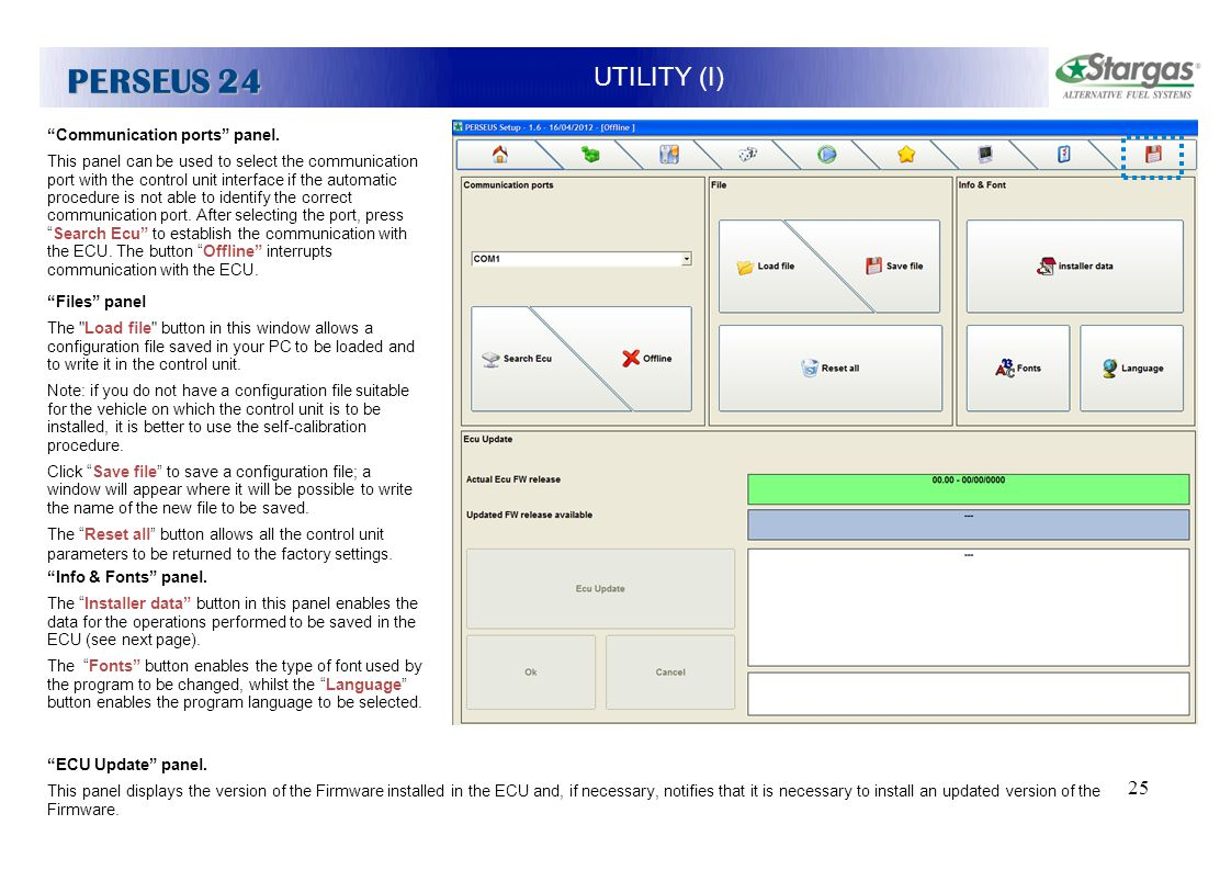 PERSEUS 24 UTILITY (I) PROVA Communication ports panel.