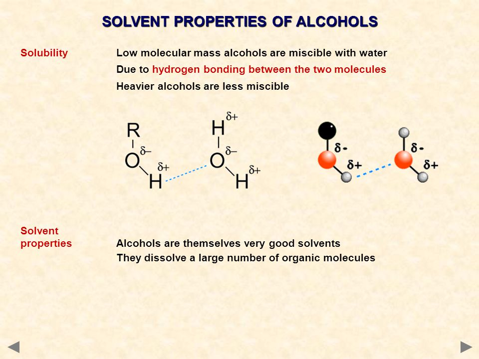 SOLVENT PROPERTIES OF ALCOHOLS