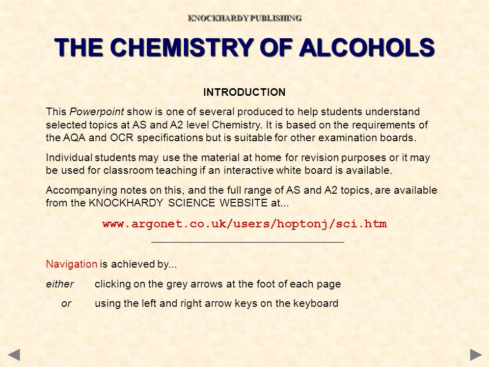 KNOCKHARDY PUBLISHING THE CHEMISTRY OF ALCOHOLS