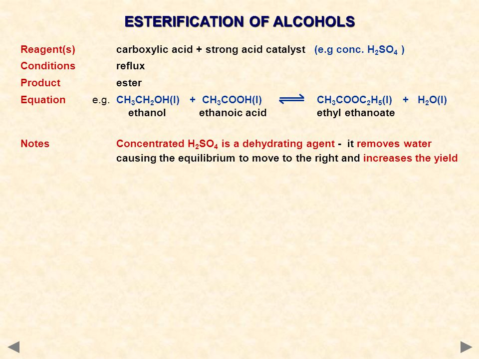 ESTERIFICATION OF ALCOHOLS