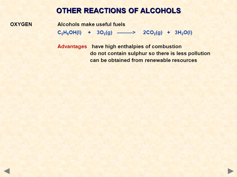 OTHER REACTIONS OF ALCOHOLS