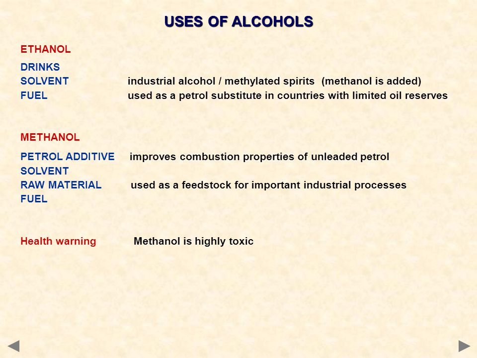 USES OF ALCOHOLS ETHANOL DRINKS