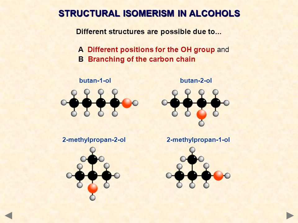 STRUCTURAL ISOMERISM IN ALCOHOLS