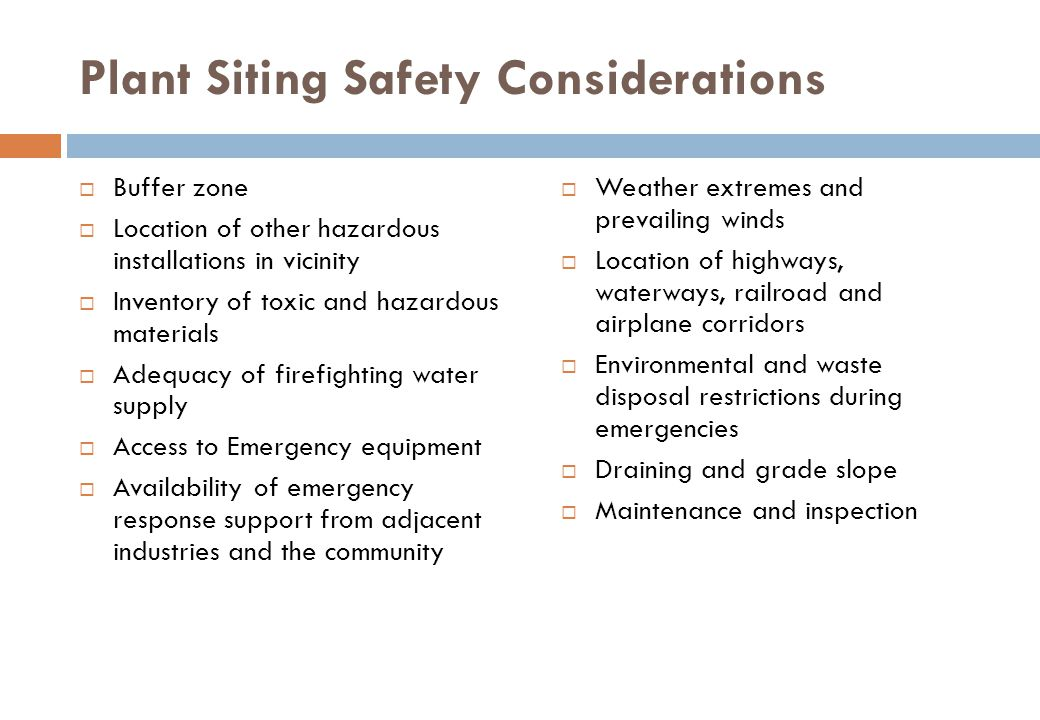 Plant Siting Safety Considerations