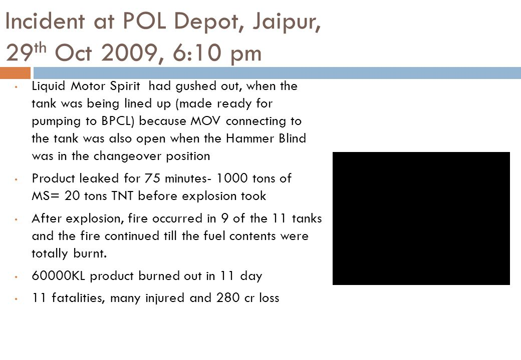 Incident at POL Depot, Jaipur, 29th Oct 2009, 6:10 pm