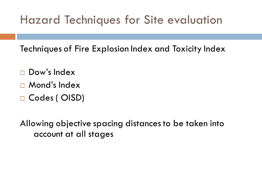Hazard Techniques for Site evaluation
