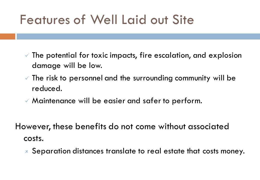 Features of Well Laid out Site