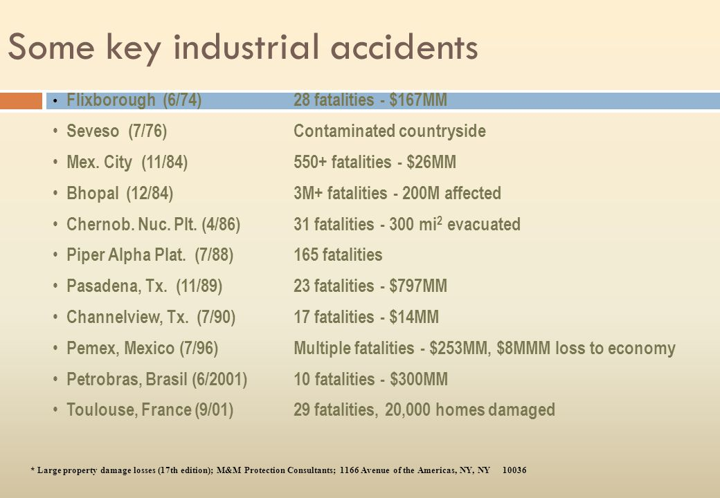 Some key industrial accidents
