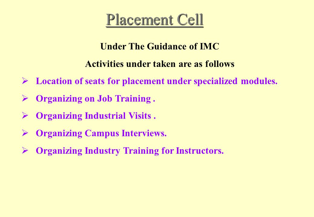 Under The Guidance of IMC Activities under taken are as follows