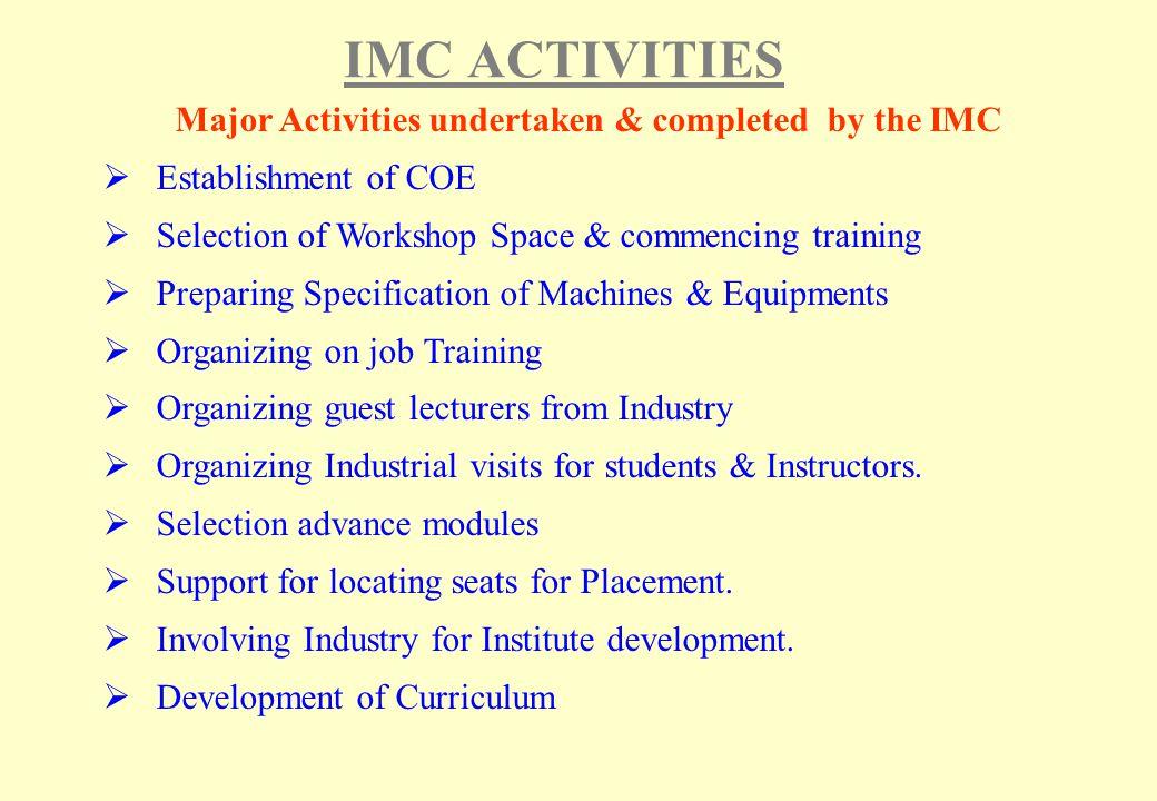 Major Activities undertaken & completed by the IMC