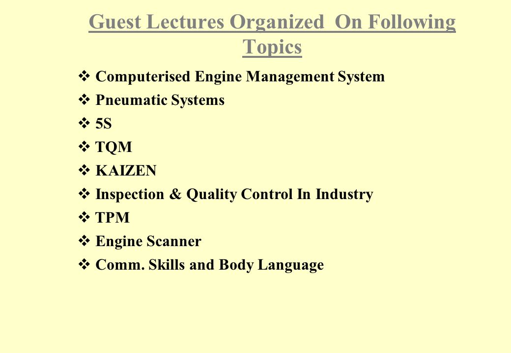 Guest Lectures Organized On Following Topics