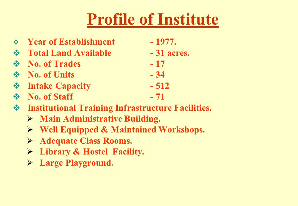 Profile of Institute Total Land Available - 31 acres.
