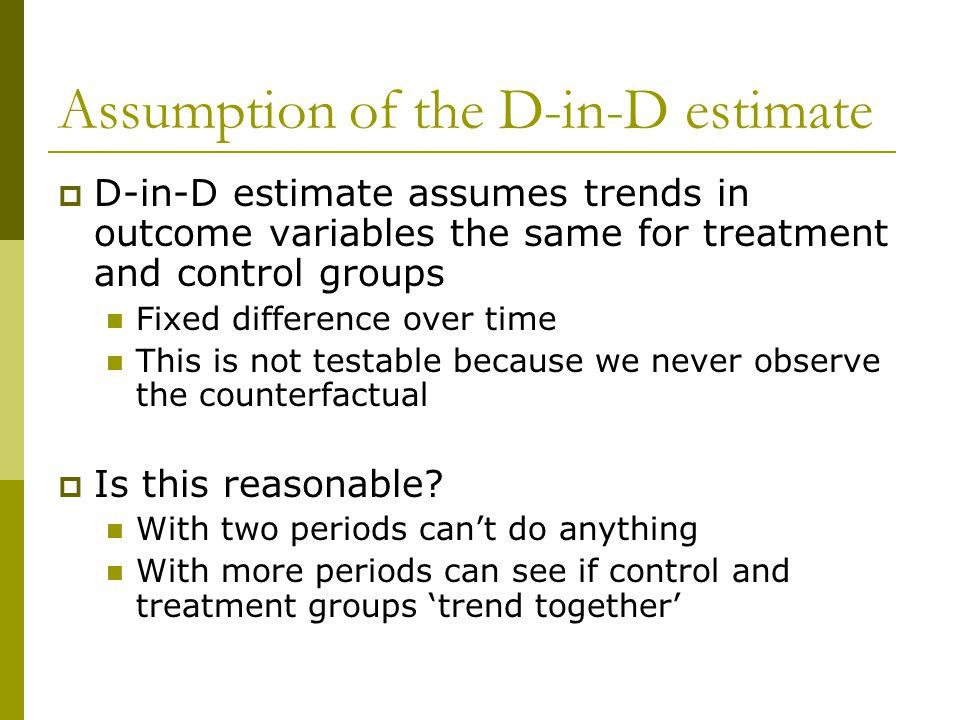 Assumption of the D-in-D estimate