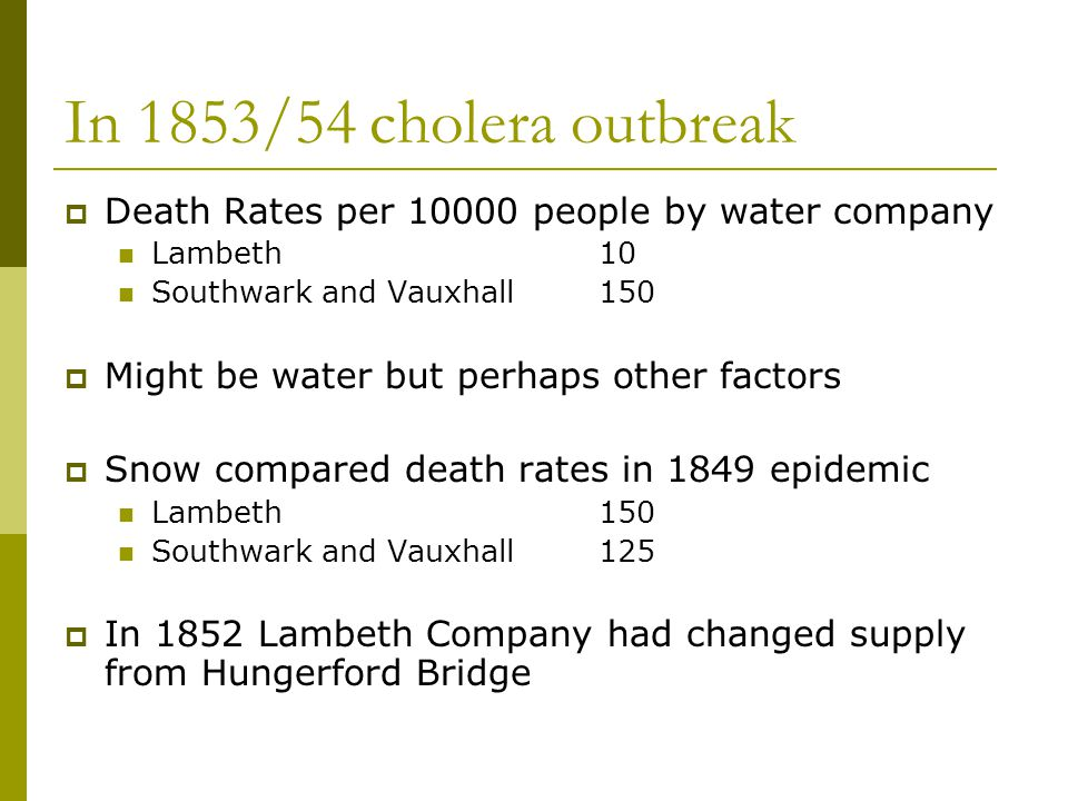 In 1853/54 cholera outbreak Death Rates per 10000 people by water company. Lambeth 10. Southwark and Vauxhall 150.