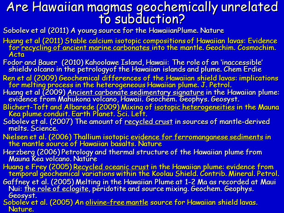 Are Hawaiian magmas geochemically unrelated to subduction