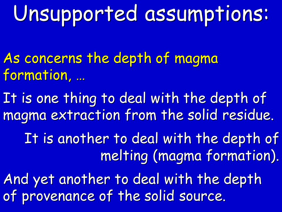 Unsupported assumptions:
