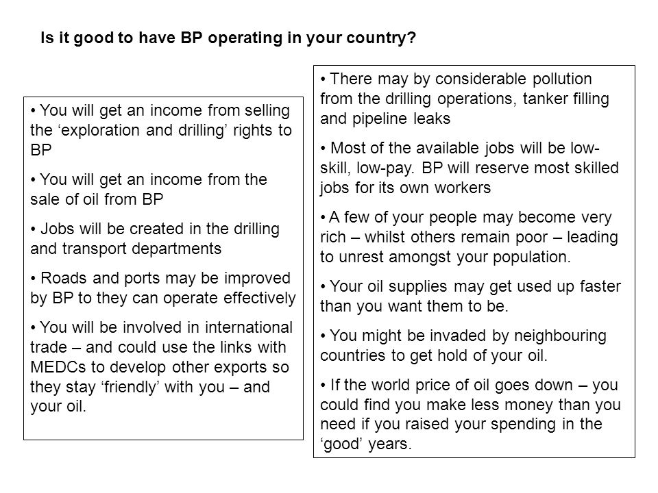 Is it good to have BP operating in your country