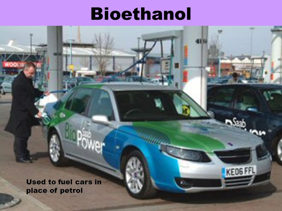 Bioethanol Used to fuel cars in place of petrol