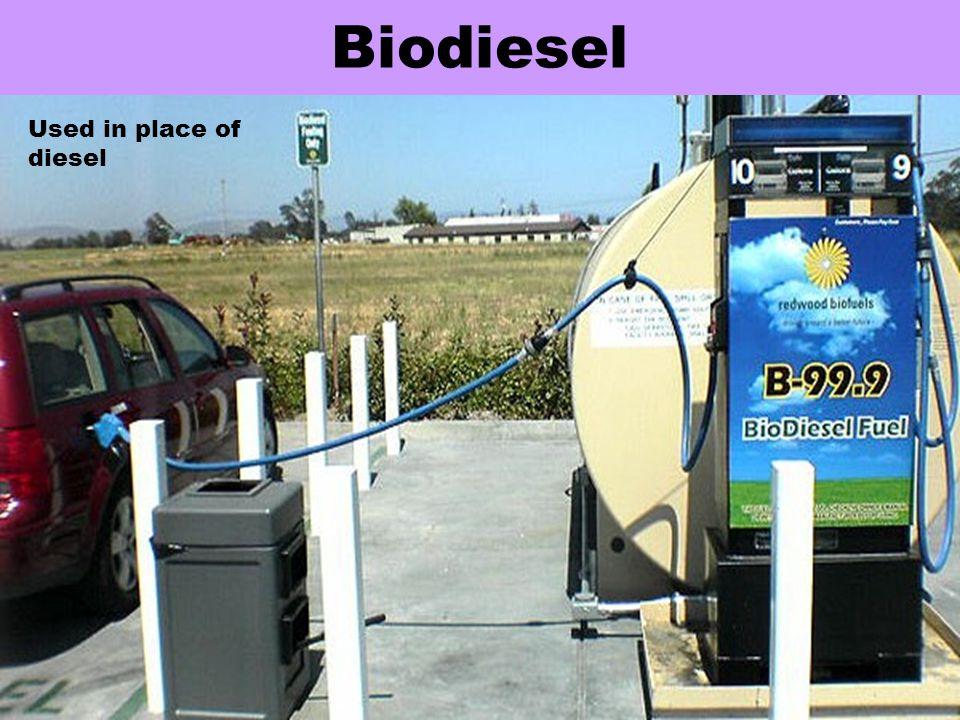 Biodiesel Used in place of diesel