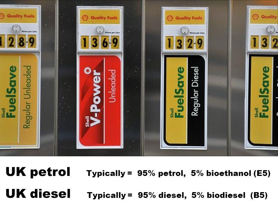 UK petrol Typically = 95% petrol, 5% bioethanol (E5)