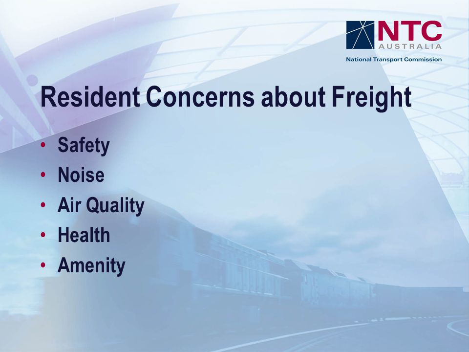 Resident Concerns about Freight