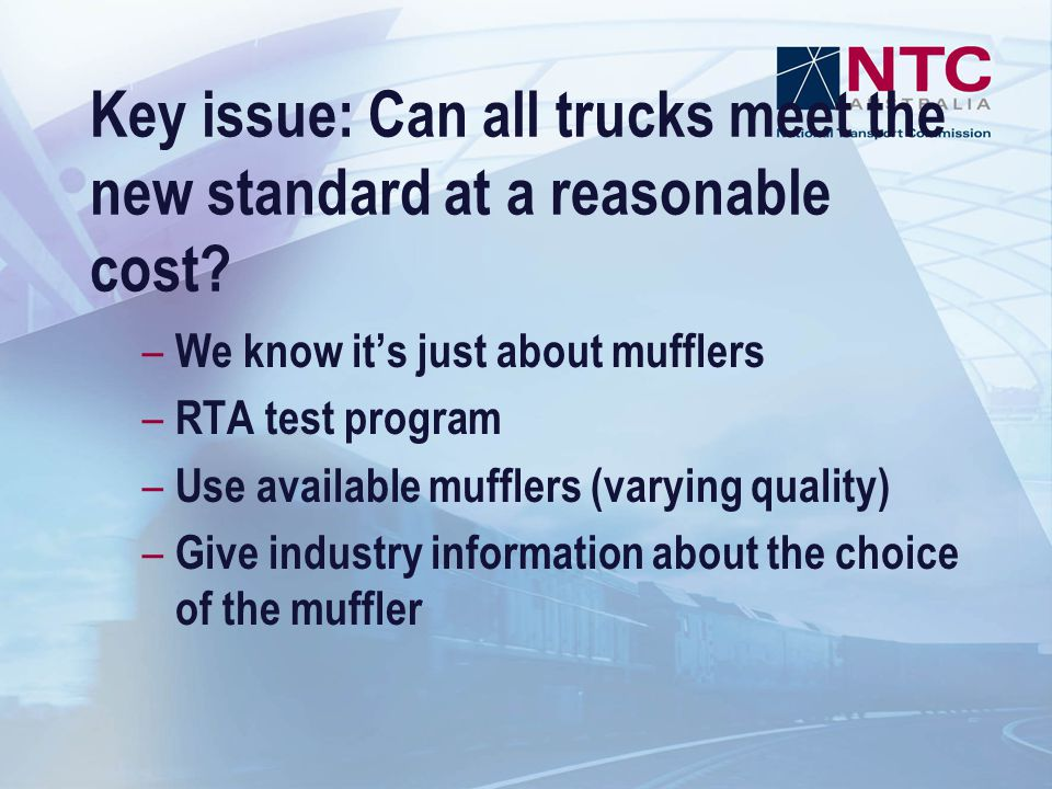 Key issue: Can all trucks meet the new standard at a reasonable cost