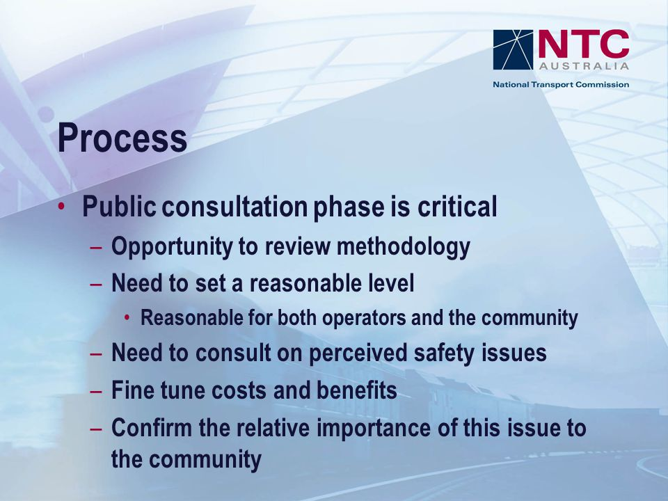 Process Public consultation phase is critical