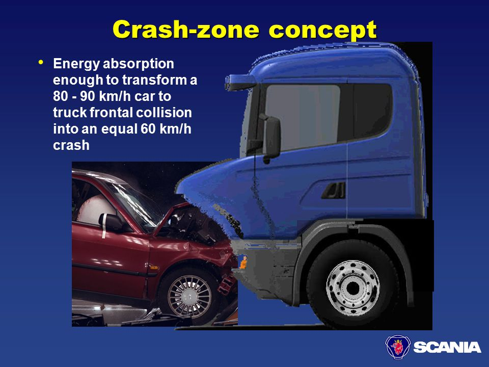 Crash-zone concept Energy absorption enough to transform a 80 - 90 km/h car to truck frontal collision into an equal 60 km/h crash.