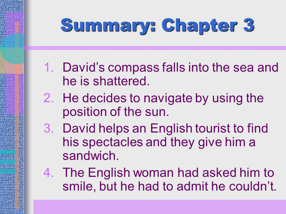 Summary: Chapter 3 David's compass falls into the sea and he is shattered. He decides to navigate by using the position of the sun.