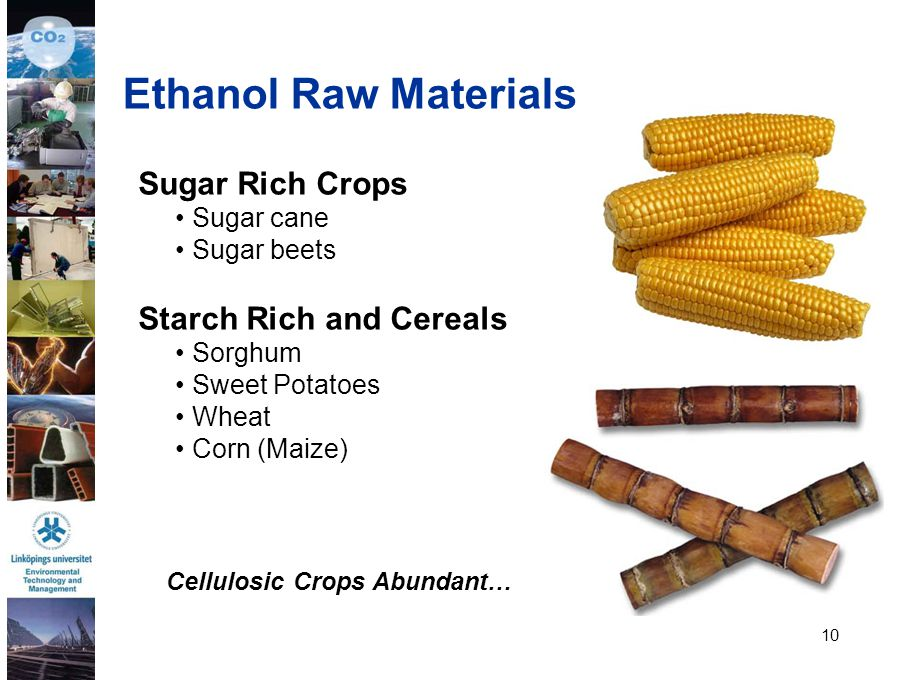 Ethanol Raw Materials Sugar Rich Crops Starch Rich and Cereals