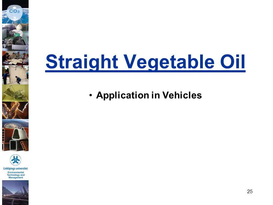 Straight Vegetable Oil Application in Vehicles