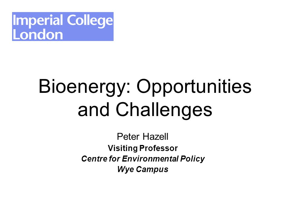 Bioenergy: Opportunities and Challenges