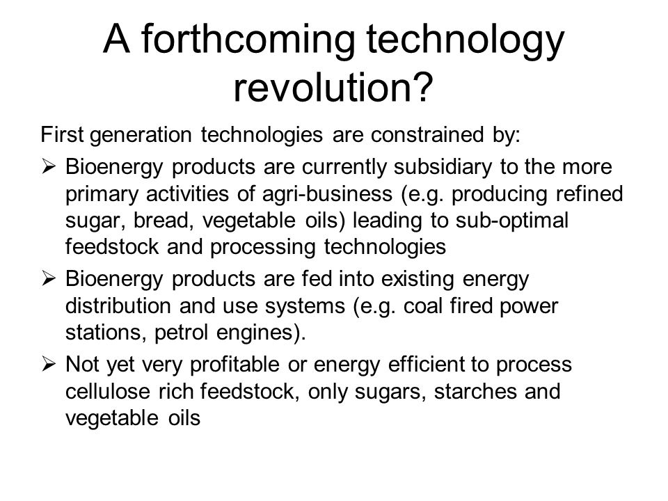 A forthcoming technology revolution