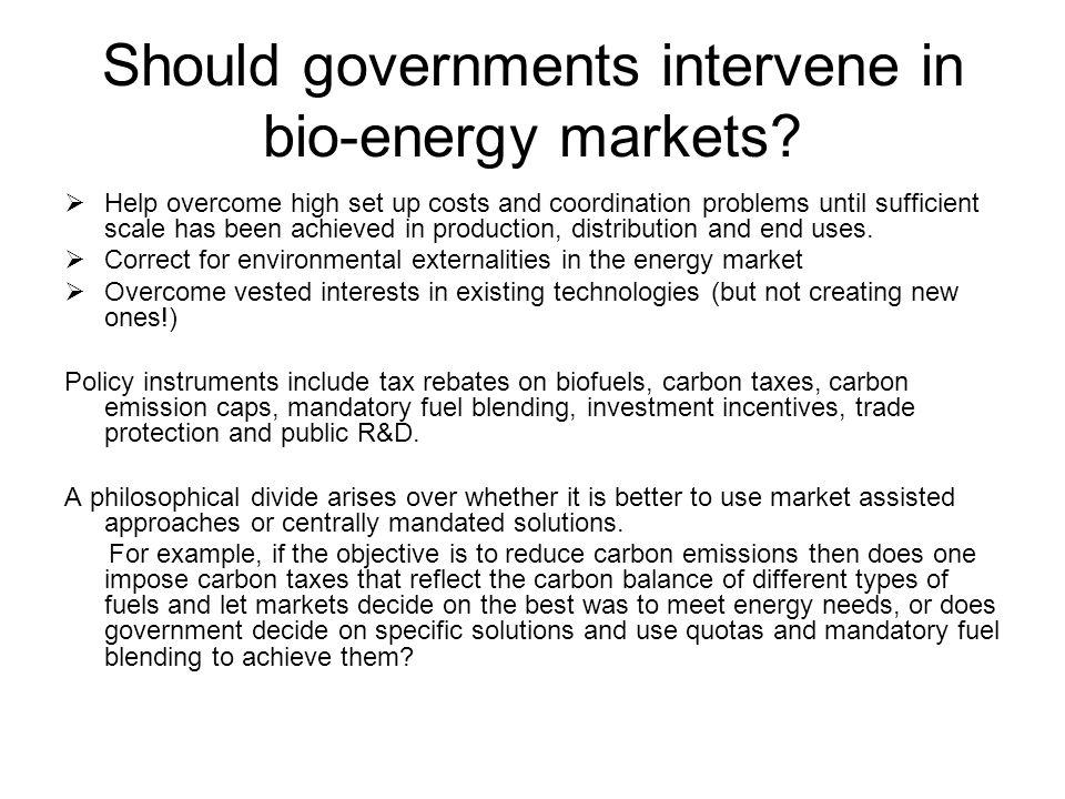 Should governments intervene in bio-energy markets