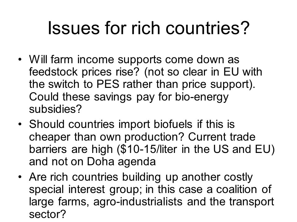 Issues for rich countries