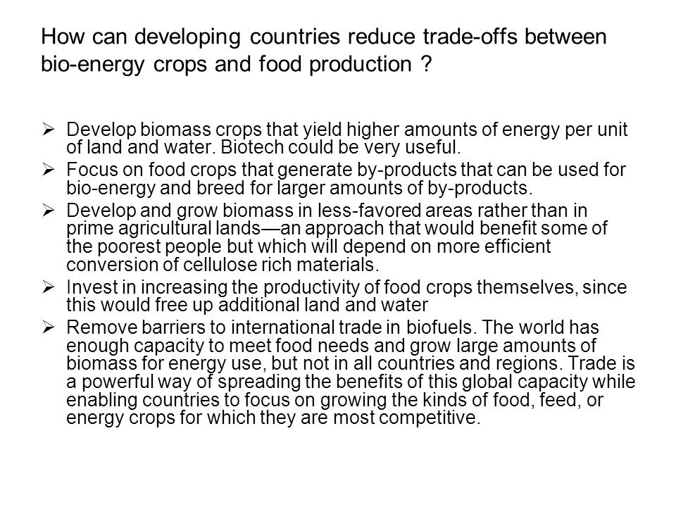 How can developing countries reduce trade-offs between bio-energy crops and food production