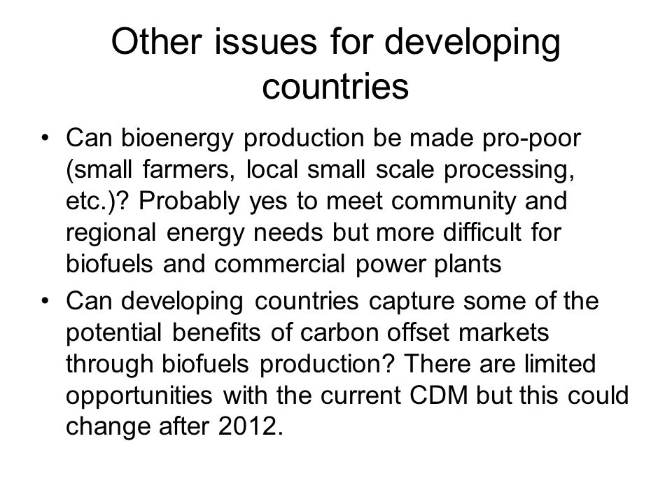 Other issues for developing countries