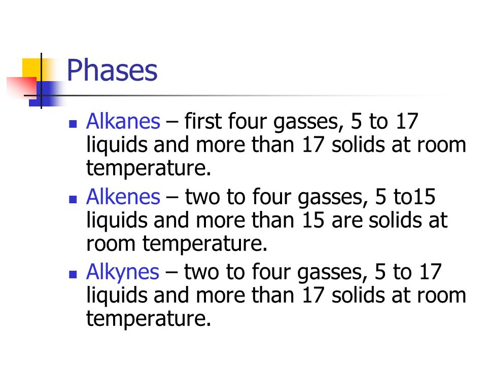 Phases Alkanes – first four gasses, 5 to 17 liquids and more than 17 solids at room temperature.