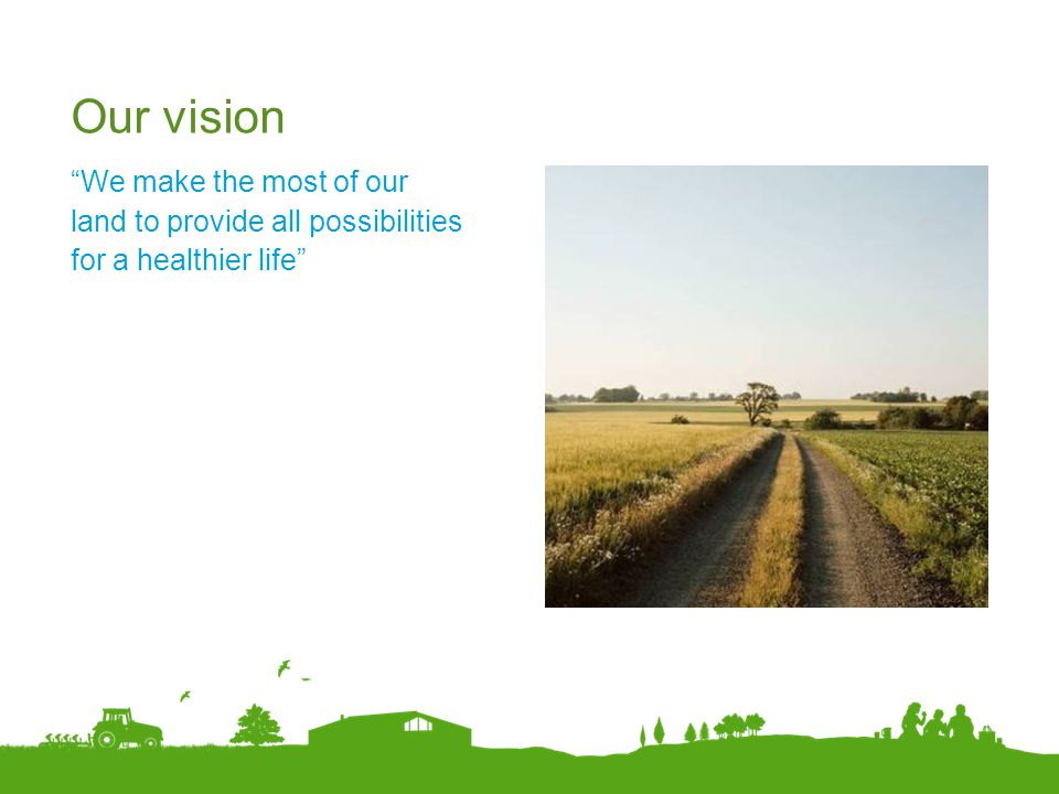 Our vision We make the most of our land to provide all possibilities for a healthier life