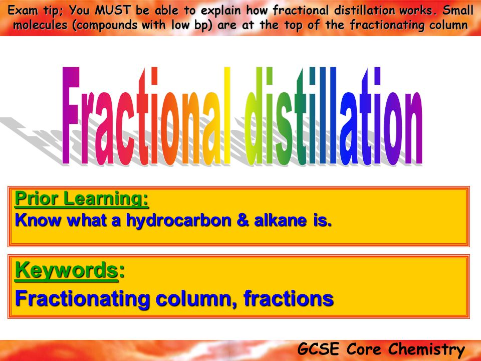 Keywords: Fractionating column, fractions
