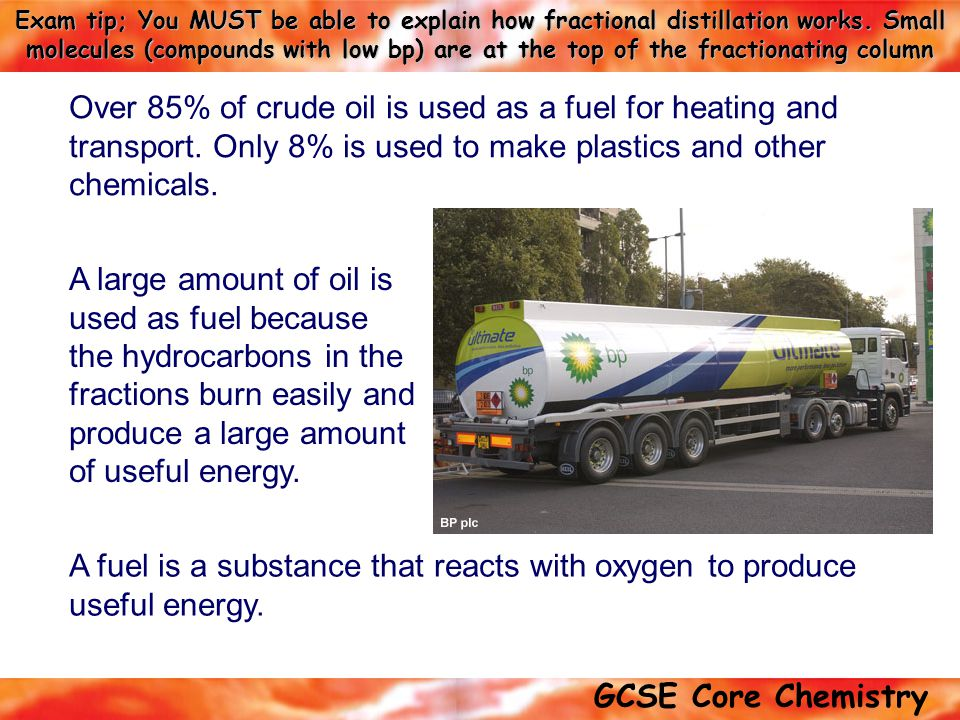 Over 85% of crude oil is used as a fuel for heating and transport