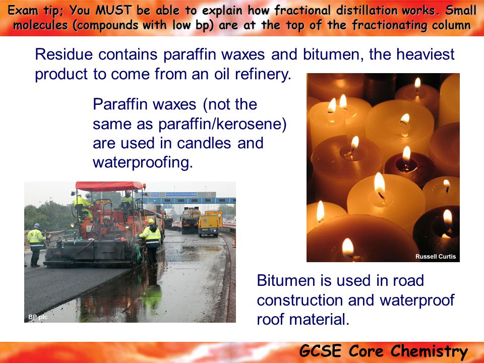 Bitumen is used in road construction and waterproof roof material.
